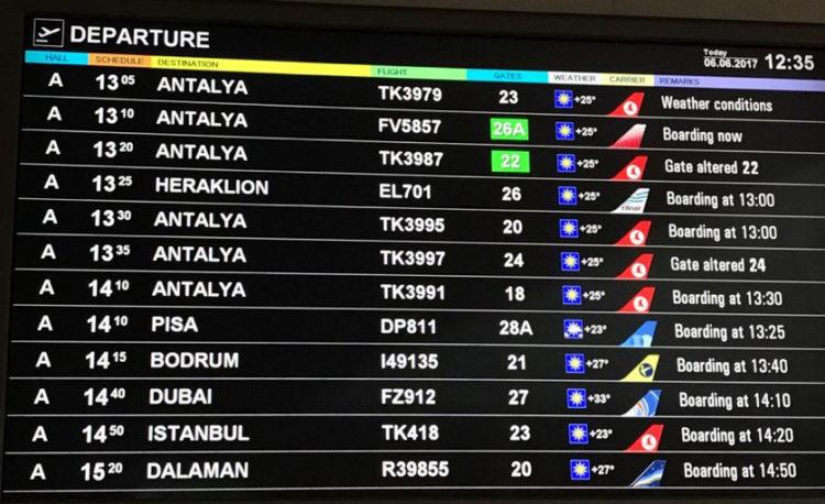 Онлайн табло аэропорта Анталии
